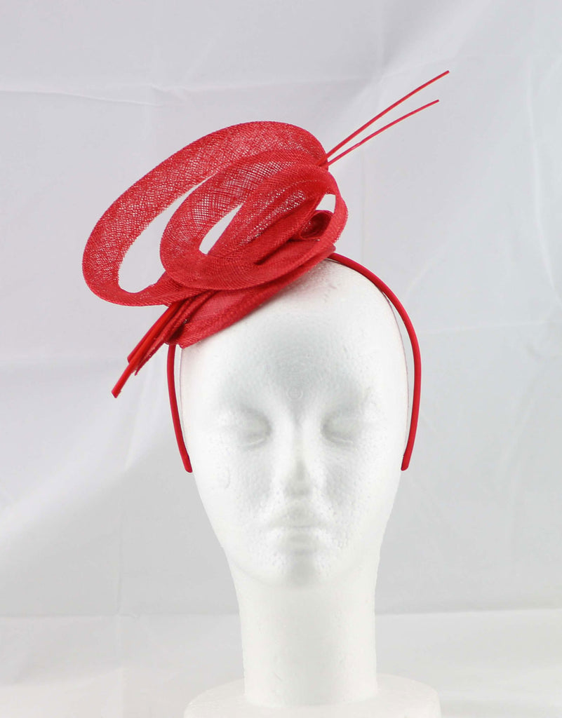 """Brittany"" Red Fascinator"
