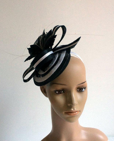 "Image of ""Cheska"" Black and White Fascinator-Fascinators-Fascinators Direct Online-Fascinators Australia"