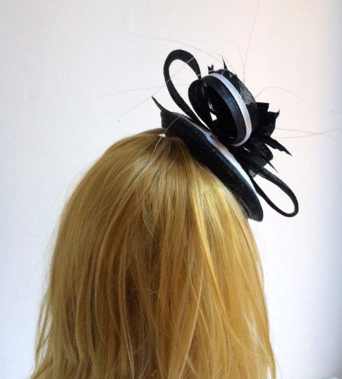 """Cheska"" Black and White Fascinator-Fascinators-Fascinators Direct Online-Fascinators Australia"