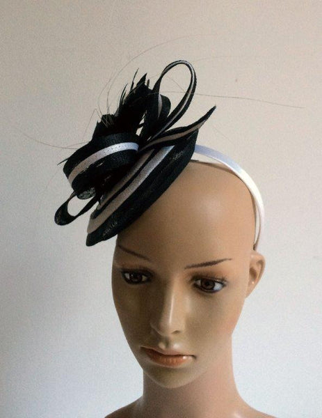 """Cheska"" Black and White Fascinator"