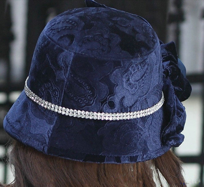 """Dream Weaver"" Dark Blue Velvet Floral Matching Shawl/Scarf and Hat-Hat-Fascinators Direct Online-Fascinators Australia"