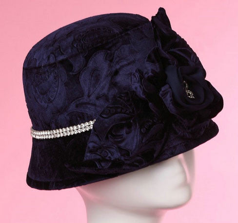 """Dream Weaver"" Dark Blue Velvet Floral Matching Shawl/Scarf and Hat-Hat-Fascinators Direct Online-Hat-Fascinators Australia"