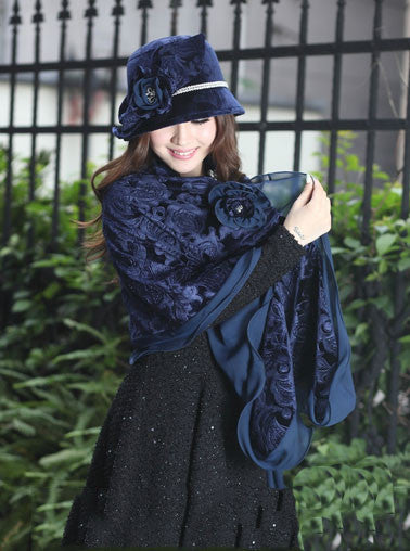 """Dream Weaver"" Dark Blue Velvet Floral Matching Shawl/Scarf and Hat-Hat-Fascinators Direct Online-hat with shawl-Fascinators Australia"