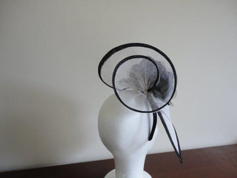 'Zara' White and Black Fascinator-Fascinators-Fascinators Direct Online-Fascinators Australia