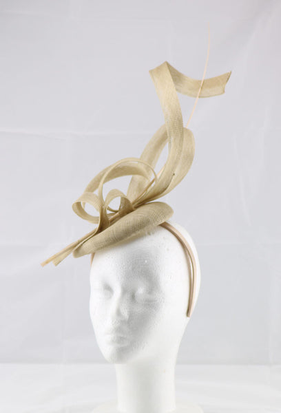 'Jessica' Gold Large Fascinator Headband