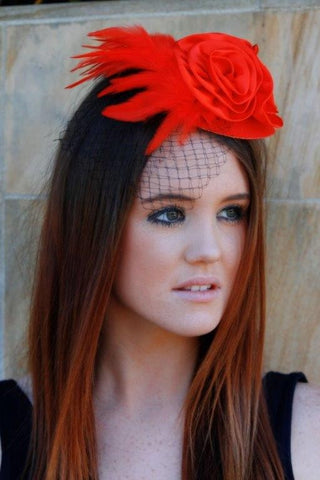 """Classic Couture"" RED with Black Veil-Fascinators-Fascinators Direct Online-Fascinators Australia"
