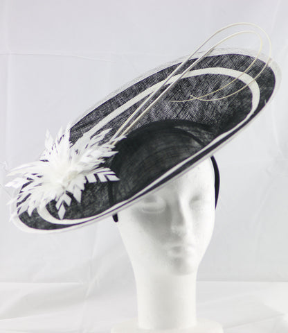 """Laurelle"" Black and Ivory White Large Fascinator Hat"