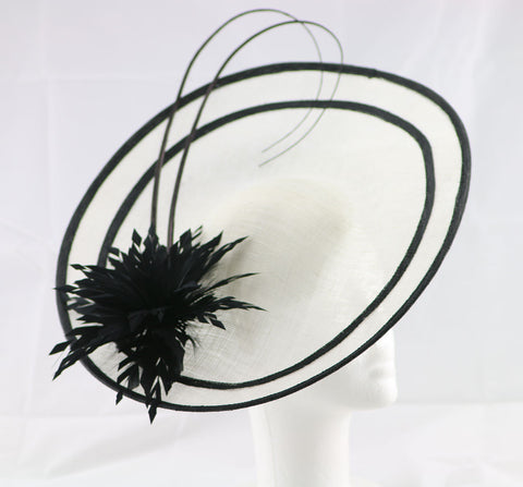 "Image of ""Laurelle"" Ivory White and Black Large Fascinator Hat"