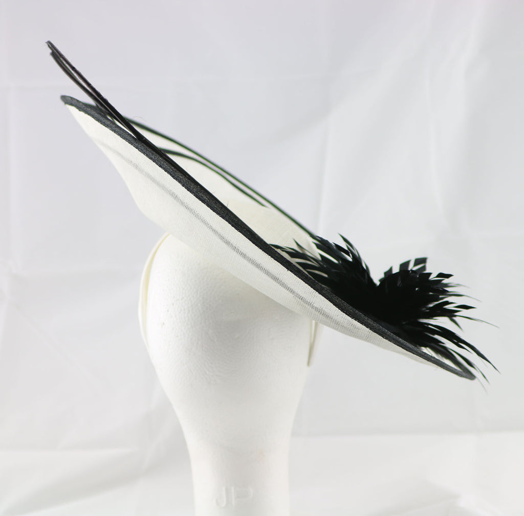 """Laurelle"" Ivory White and Black Large Fascinator Hat"