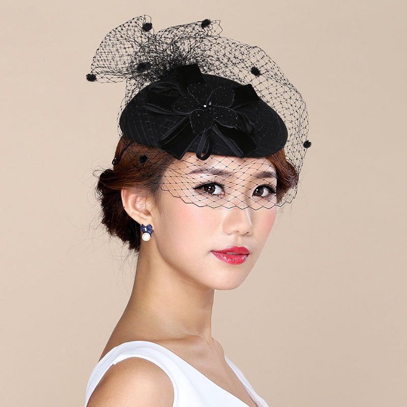 Nadia - Stunning Wine Red & Black Fascinator
