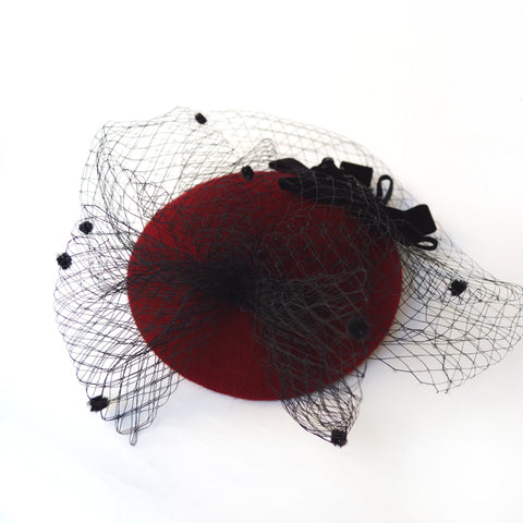 Image of Nadia - Stunning Wine Red & Black Fascinator