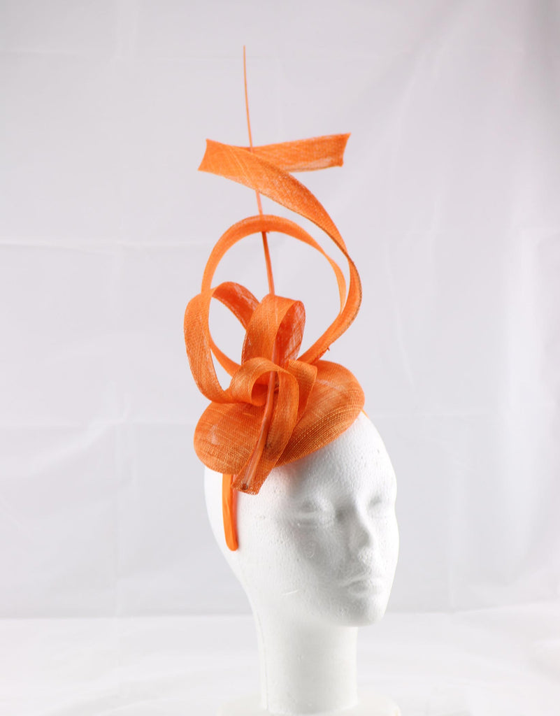 'Jessica' Orange Large Fascinator Headband