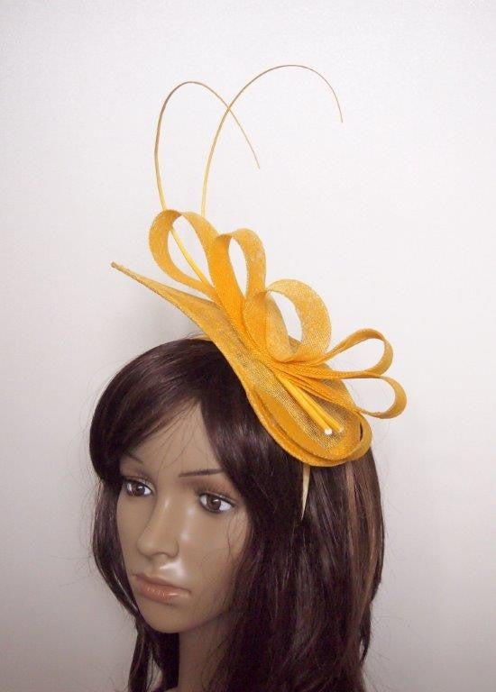 """Kara"" Yellow Fascinator Headpiece-Fascinators-Fascinators Direct Online-Fascinators Australia"