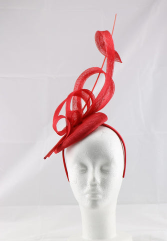 'Jessica' Red Large Fascinator Headband