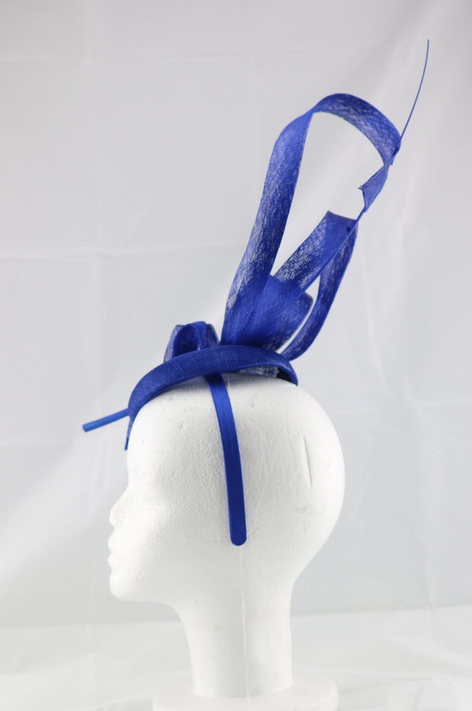 'Jessica' Royal Bright Blue Large Fascinator Headband