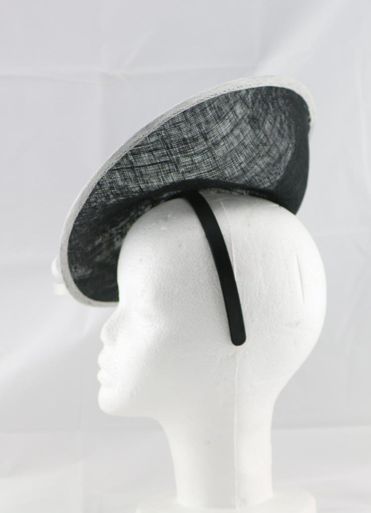 """Samantha"" Black and Ivory White Large Fascinator Hat"
