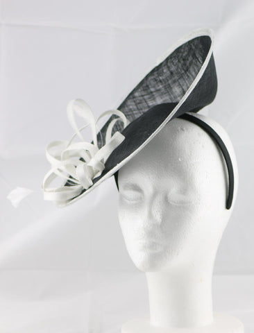"Image of ""Samantha"" Black and Ivory White Large Fascinator Hat"