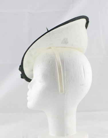 "Image of ""Samantha"" Ivory White and Black Large Fascinator Hat"