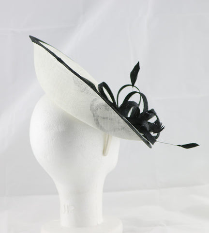 """Samantha"" Ivory White and Black Large Fascinator Hat"