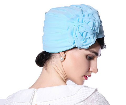 "Image of ""Stunning Frances"" Light Blue Fascinator Chiffon Wrap Hat-Hat-Fascinators Direct Online-Fascinators Australia"