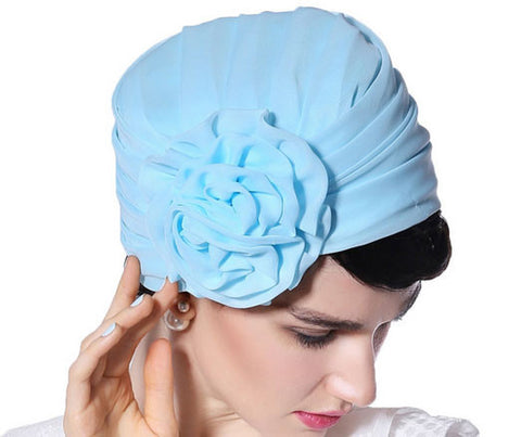 """Stunning Frances"" Light Blue Fascinator Chiffon Wrap Hat-Hat-Fascinators Direct Online-Fascinators Australia"
