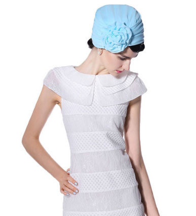 """Stunning Frances"" Light Blue Fascinator Chiffon Wrap Hat"