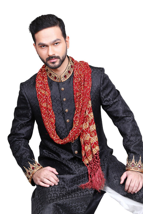Sherwani Black (embroidered) - SHR05-JW-E1