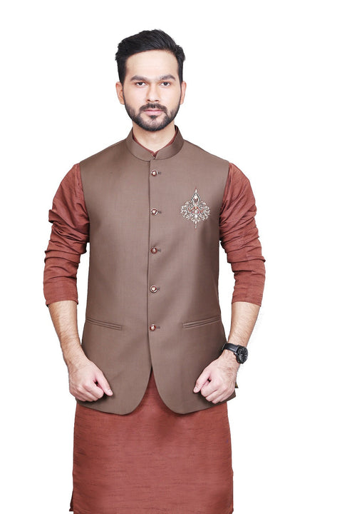 Brown Motif Waist Coat VC02-CMS11-ME3