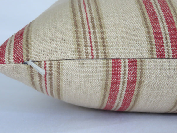 Beige and Rust Farmhouse Stripe Pillow Cover