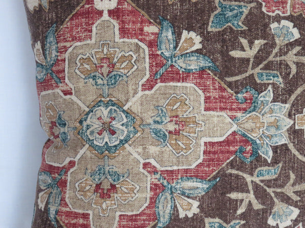 Brown Rust Teal medallion pillow cover, Covington Bettina