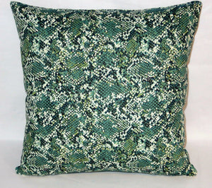 Green snakeskin print pillow