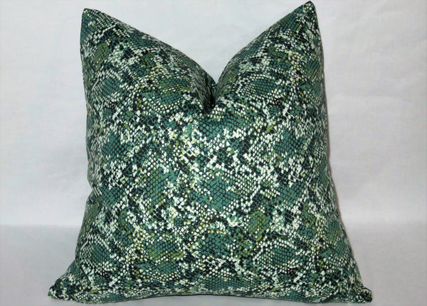 "Green Snake Skin Print Pillow Cover, Trompe L'Oeil Reptile, 17"" Square Cotton, Zipper"