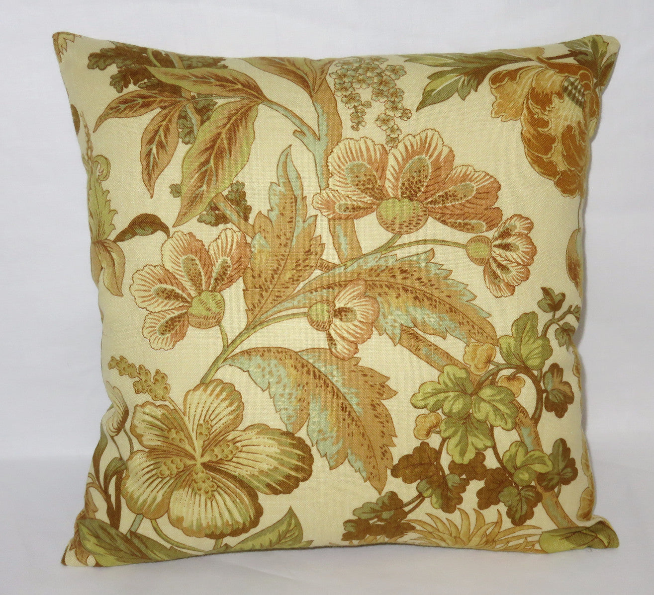 gold tones floral pillow