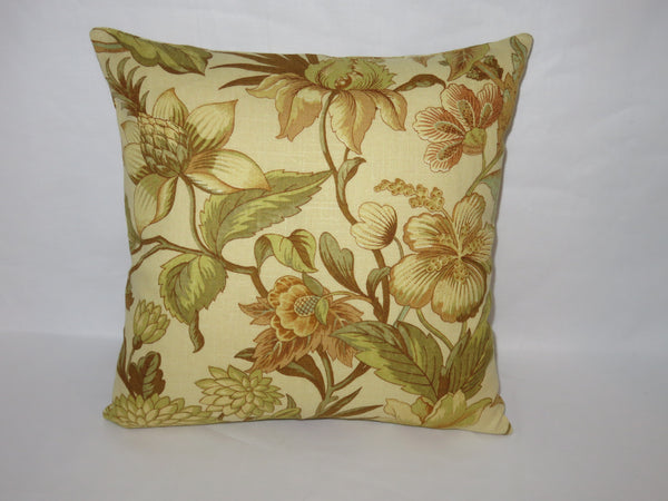 "Gold Tones Floral Pillow Cover, 17"" Square Linen Blend, Yellow Green Brown Aqua Flowers & Vines"