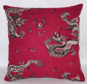Red embroidered dragon pillow