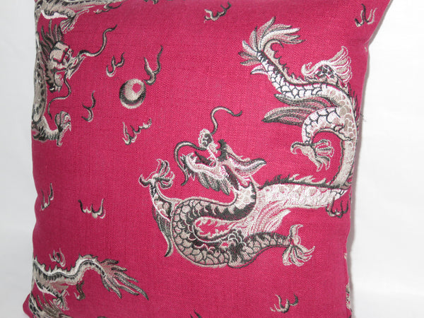 "Red Dragon Pillow Cover, Embroidered Cherry Linen, 16"" Square, Oriental Asian Decor, Zipper"