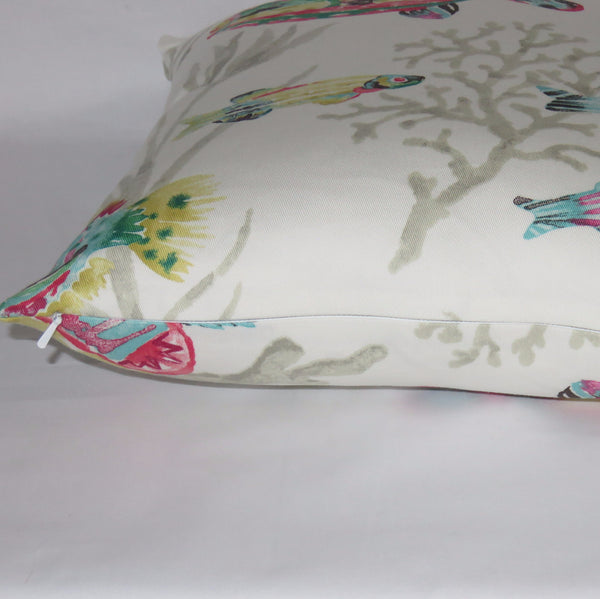"White Tropical Fish Pillow Cover, Cotton 17"" Square, Island Coral Reef, Pink Blue Green Yellow"