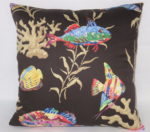 Black tropical fish pillow