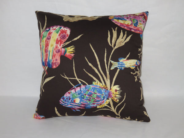 "Black Tropical Fish Pillow Cover, Cotton 17"" Square, Island Coral Reef, Blue Pink Yellow Purple"