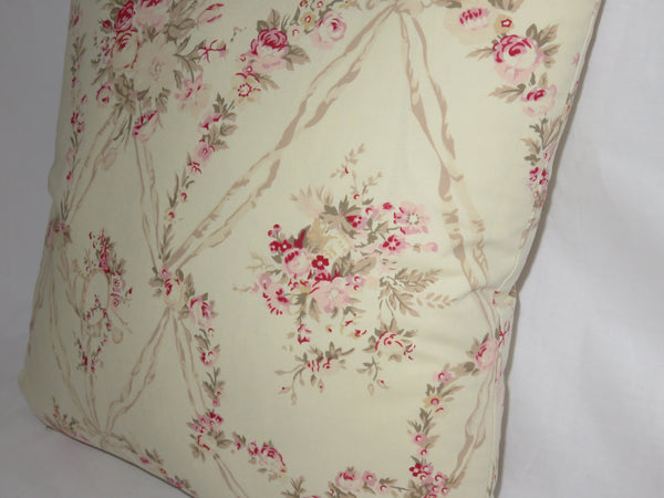 "Retro Floral Pillow Cover, American Folk Amadeus, 17"" Sq Cotton, Vintage Look, Pink Roses, Music"