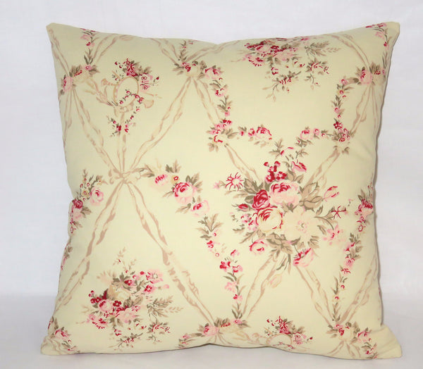 Ivory pink wallpaper floral pillow