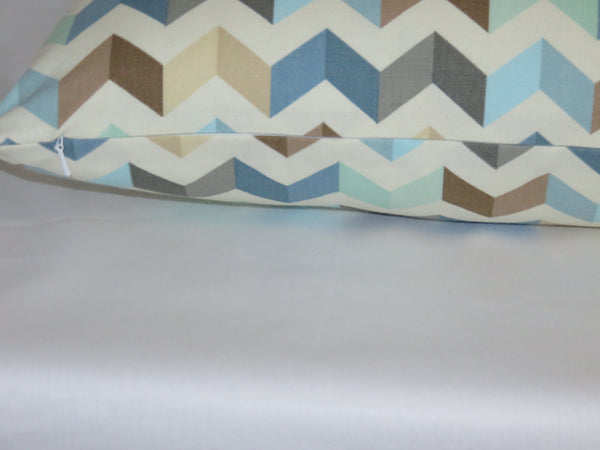 "Seaglass Chevron Pillow Cover, 17"" Sq. Cotton, Waverly Tip Top Etheral, Blue Mint Grey Brown White"