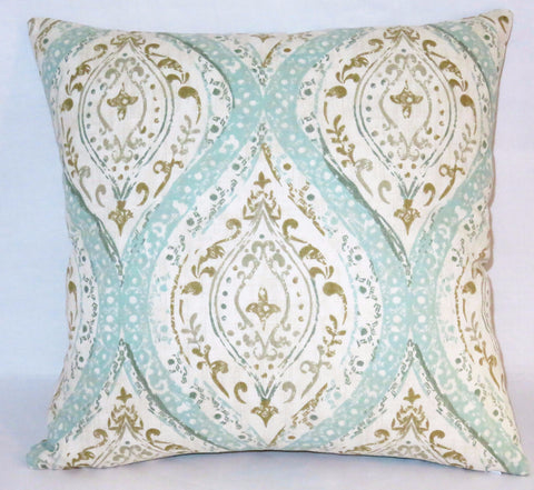 Aqua tan medallion pillow
