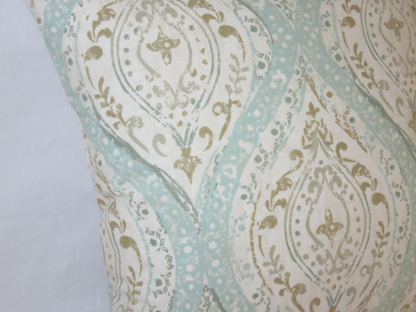 "Aqua Tan Medallion Pillow Cover, Pale Blue Ogee Paisley, Distressed Look, 17"" Cotton Square"
