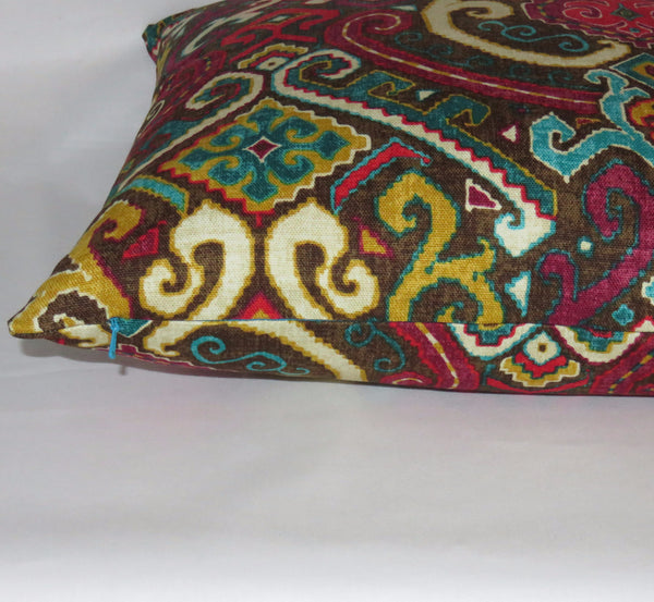 "Colorful Medallion Pillow Cover, Waverly Fabric, Brown Magenta Turquoise Fuchsia Gold, 17"" Cotton"