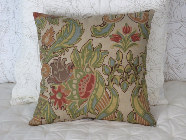Kravet Lutron Pillow Cover, Green Orange Aqua Floral, Simone, Mission Style Flowers Scroll Urn