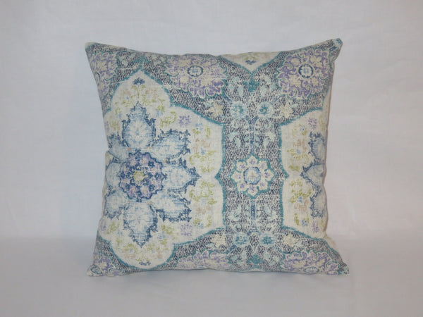 Blue Medallion Pillow Cover, Navy Teal Lavender, P. Kaufmann Toscana Tile, Moroccan, Ethnic, Boho, 17""