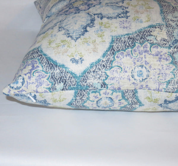Blue Medallion Pillow Cover, Navy Teal Lavender, P. Kaufmann Toscana Tile