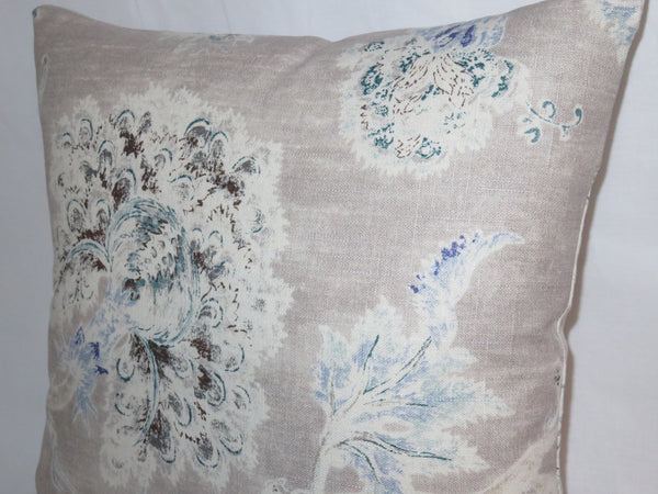 Taupe Watercolor Floral Pillow Cover, P. Kaufmann Millie Cloud, Tan Blue Teal White, Flowers Vines Leaves