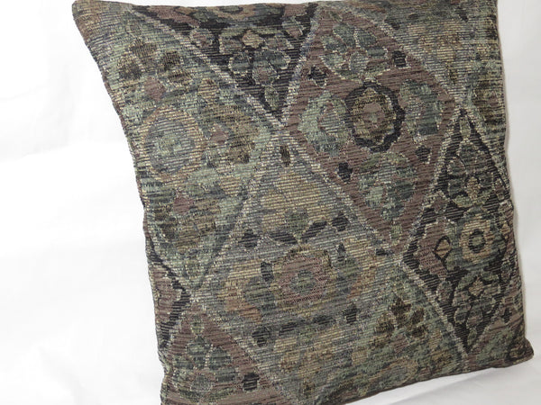 "Grey Black Brown Diamond Chenille Pillow Cover, 17"" Sq Tapestry, Moroccan Southwest, Distressed"